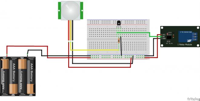 Lampu Otomatis Sensor Gerak PIR HCSR501 dan Relay Tanpa Arduino